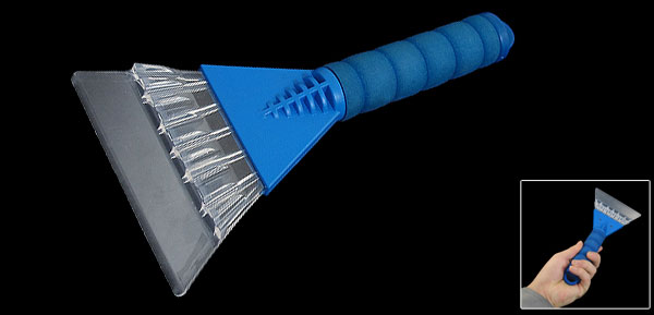 Blue Clear Foam Coated Handle Ice Snow Scraper Cleaning Tool for Car Vehicle