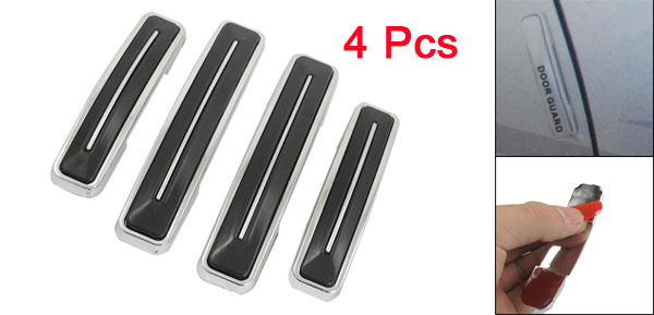 4 Pcs Car Auto Decor Rectangle Shape Door Guard Sticker Black