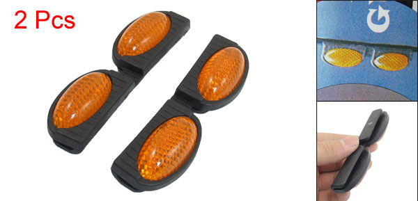 2 Pcs Car Vehicle Black Orange Plastic Dual Oval Reflective Reflector Pad