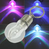 Backpack Metal Flashing LED Light Mini Bulb Pendant Split Key Ring Keychain Colorful
