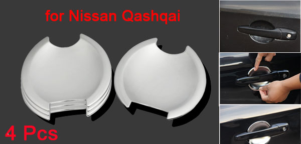 4 Pcs Silver Tone Car Door Handle Bowl Trim Cover Cap for Nissan Qashqai