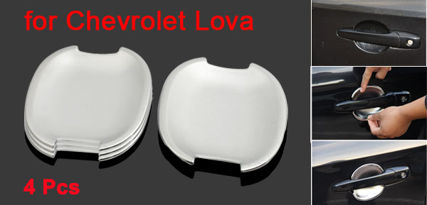 4 Pcs Polished Adhesive ABS Door Handle Bowl Cap Trim for Chevrolet Lova