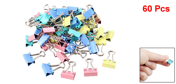Metal School Office Assorted Color Paper Document Binder Clips 60pcs Colorful