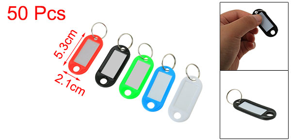 Waiter Salesman Colorful Plastic Name Tag Badge Clip Holder Keyring 50 Pcs