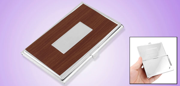Mirror Polish Stainless Steel Brown Wood Grain Pattern Business Card Holder