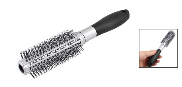 Black Silver Tone Handgrip Curly Hair Styling Round Bristles Brush Comb