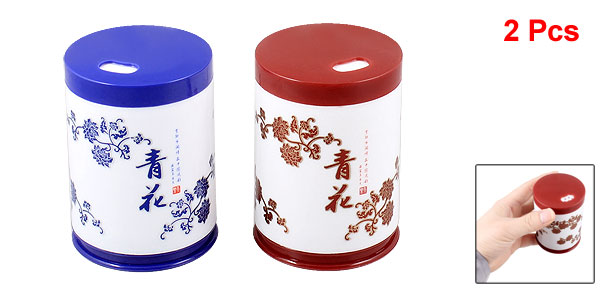 Blue Red Flower Pattern Cylinder Shaped Plastic Toothpick Holder 2 Pcs