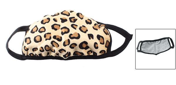 Leopard Pattern Elastic Strap Winter Mouth Warmer Earloop Face Mask