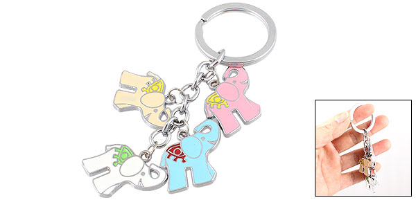 Ladies Women Colorful Elephant Pendant Keychain Keyring Key Holder
