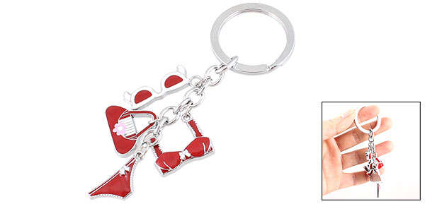 Woman Lady Metal Bra Brief Handbag Pendant Keychain Keyring Key Holder