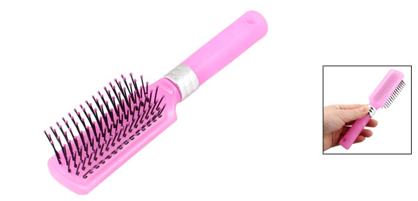 Pink Silver Tone Plastic Handle Hairdressing Wavy Curly Hair Luminous Comb