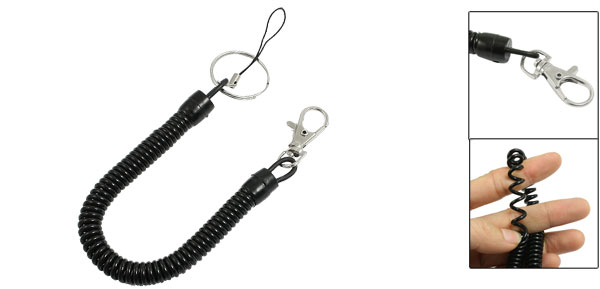 Split Keyring Lobster Clasp Stretchy Coiled Strap Lanyard Black