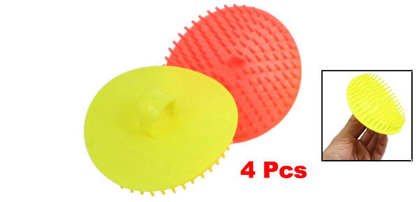 Yellow Orange Red Plastic Handheld Head Scalp Massage Shampoo Brushes 4 Pcs