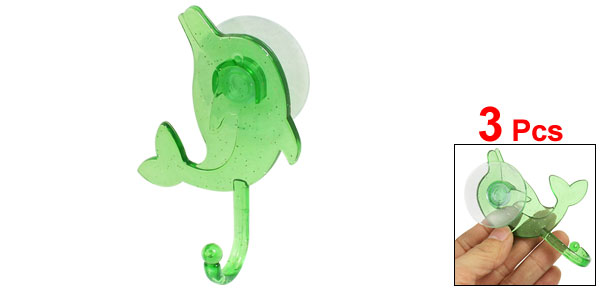 Bathroom Plastic Green Dolphin Shape Towel Bag Hanger Suction Wall Hook 3 Pcs