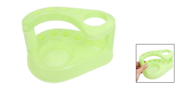 Bathroom Plastic 2 Layers Toothbrush Toothpaste Holder Rack Yellowgreen