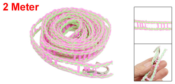 2 Meter Outdoor Metal Hooks Ends Plastic Antislip Clothesline Rope Green Fuchsia