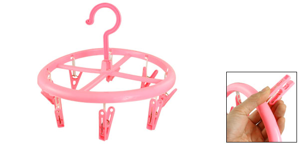 Balcony Pink Plastic 8 Clothespins Scarf Towel Gloves Clothes Hanger Peg