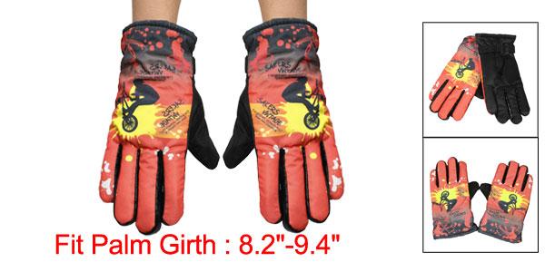 Men Black Letters Boy Bike Pattern Nonslip Rubber Dots Sports Warmer Gloves Pair