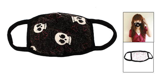 Fuchsia White Skull Pattern Dust Proof Mouth Nose Muffle Earloop Face Mask