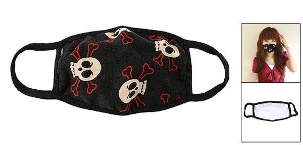 Winter Warm Red White Skull Bone Prints Stretchy Ear Straps Earloop Mask Facemask