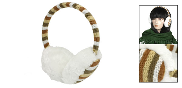 Lady Winter Multicolor Knitted Weave Striped Design White Plush Ear Pad Earmuffs