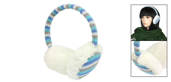 Girls Winter Multicolor Acrylic Weave Stripes Design White Plush Ear Cover Earmuffs