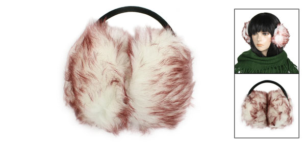 Women Winter Headband Fluffy Faux Fur Ear Pad Back Earmuffs White Dark Brown