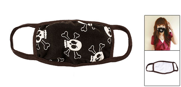 Chocolate Color Hem Skulls Pattern Elastic Ear Strap Earloop Mask Facemask