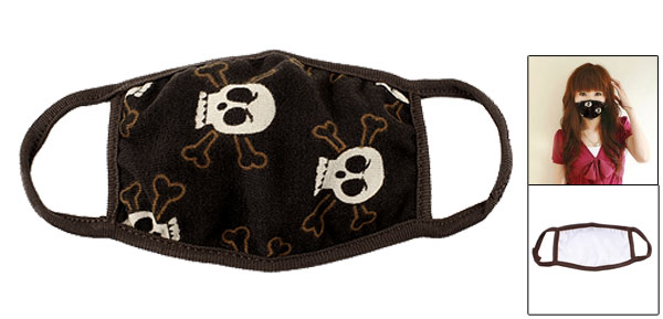 Cotton Blends White Brown Skulls Bones Detail Dustproof Earloop Half Face Mask