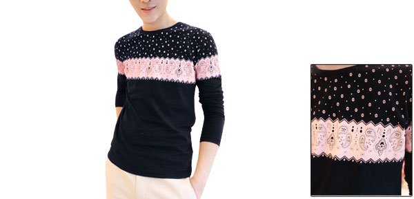 Korea Man Styish Floral Prints Round Neck Long Sleeve Pink Dark Blue Shirt M