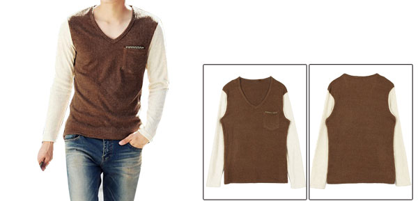 Korea New Fashion V Neck Long Sleeve Ribbed Knit Details Mens Camel White Shirt S