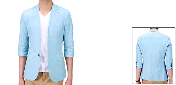 Mans Front Pockets Half Sleeve Mesh Lining Light Blue Simple Blazer M