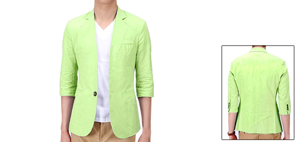 Mans Side Pockets Half Sleeve Mesh Lining Lime Green Thin Jacket M