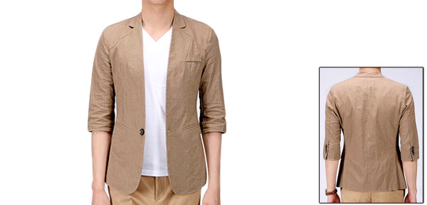 One Button Front Peaked Lapel Half Sleeve Stylish Blazer Khaki For Man M