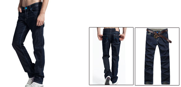 Mens Belt Loop Zip Closure Slant Pockets Pure Design Simple Dark Blue Jeans W33