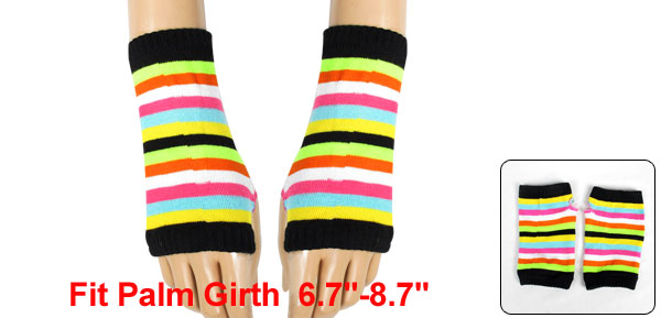 Colorful Stripes Pattern Knitting Mitten Fingerless Gloves for Ladies
