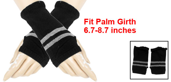 Women Stripes Prints Thumb Hole Detail Elastic Knit Gloves Black Gray