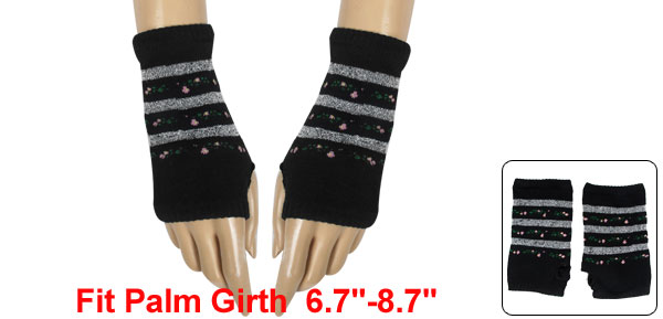 Gray Stripes Pattern Knitted Mitten Fingerless Gloves Black for Women