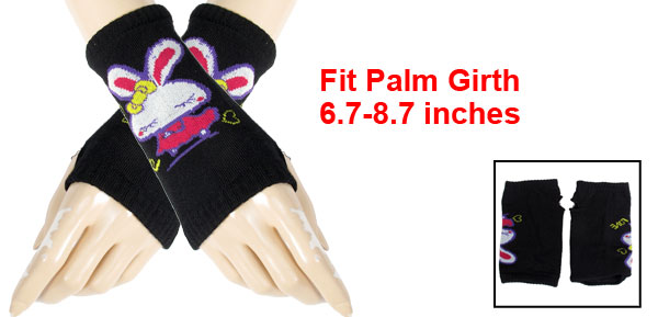 Rabbit Pattern Knitting Mitten Fingerless Gloves Black for Ladies