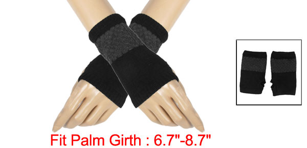 Ribbed Knitted Mitten Fingerless Gloves Black Gray for Ladies