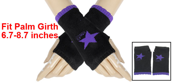 Purple Star Pattern Knitting Mitten Fingerless Gloves Black for Ladies