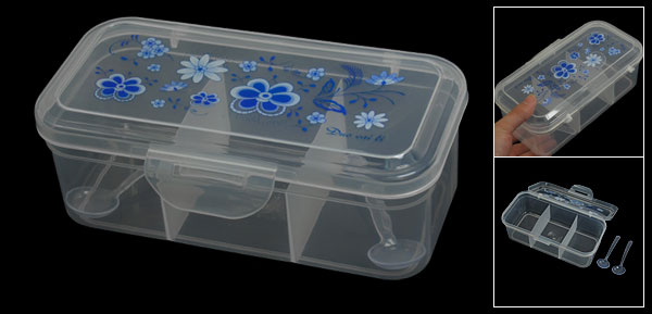 Clear Blue Flower Printed Plastic Spices Dispenser 3 Sections Container Box