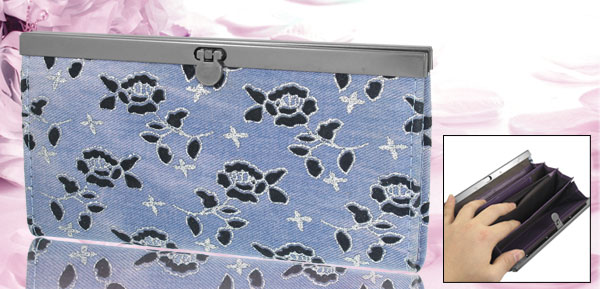 Lady Nylon Lining Light Blue Canvas Floral Pattern 5-Compartment Wallet