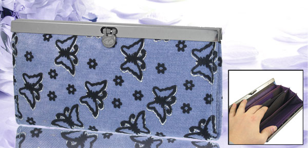 Ladies Light Blue Canvas Butterfly Printed Flip Lock Closure Wallet Purse