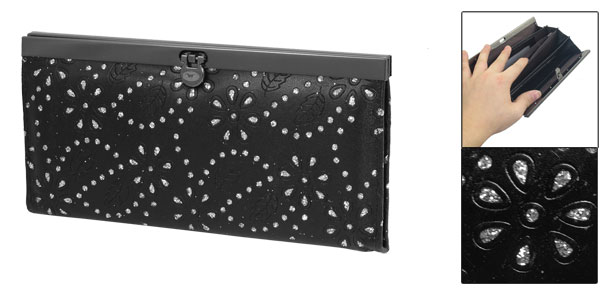 Lady Nylon Lining Black Faux Leather Leaves Pattern 5-Compartment Wallet