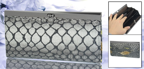 Lady Nylon Lining Black Gray Faux Leather Crocodile Pattern 5-Compartment Wallet