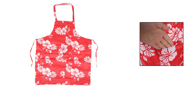 Housewife Cooking Single Pocket Floral Bib Apron Pink Red