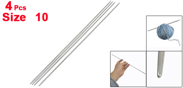 Silver Tone Sweater Weaving Hollow Double Point Knitting Needles Size 10 4 Pcs