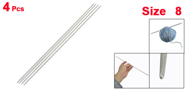 Stainless Steel Art Working Knit Knitting Needles Double Point Size 8 4 Pcs