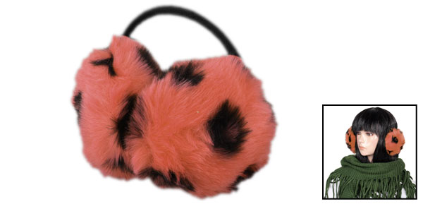 Women Leopard Round Fluffy Back Wear Earwarmers Earmuffs Orange Red Black